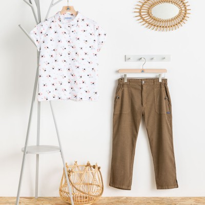 Mangrove, short-sleeves printed blouse pline