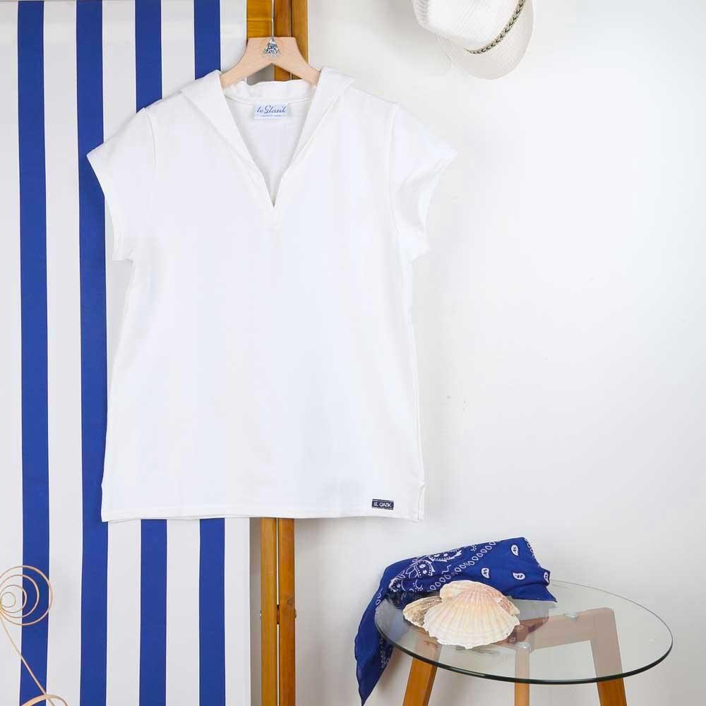 Tropique, T-shirt jersey à col en V made in France Le Glazik