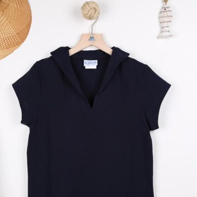 Tropique, T-shirt jersey à col en V made in France navy zoom