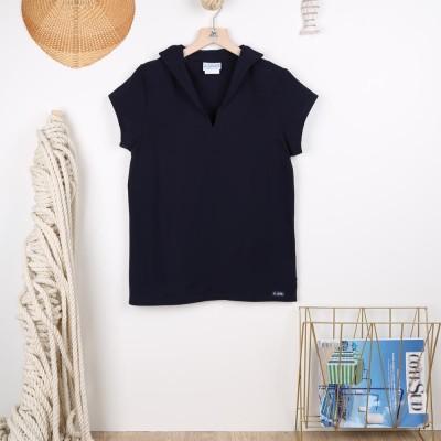 Tropique, T-shirt femme jersey à col en V made in France Navy