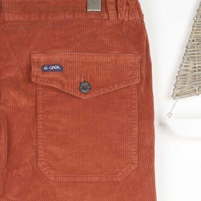 Petrus, Pantalon en velours et bas de jambes effilées terracotta