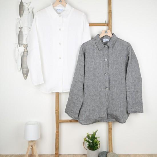 Malia, Linen overshirt 4 buttons and collar