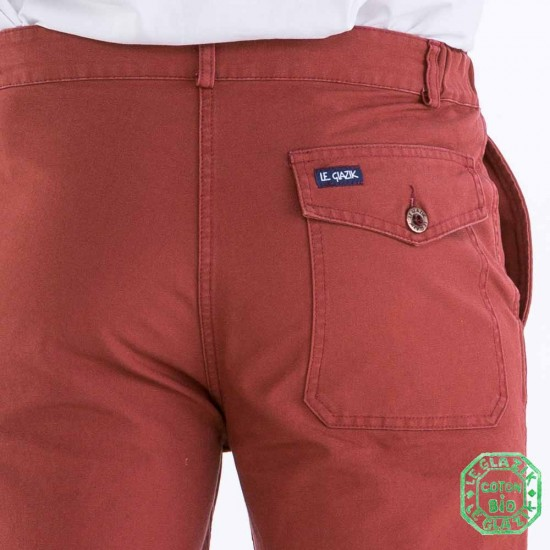 Pornichet men's pants brique authentic back pocket