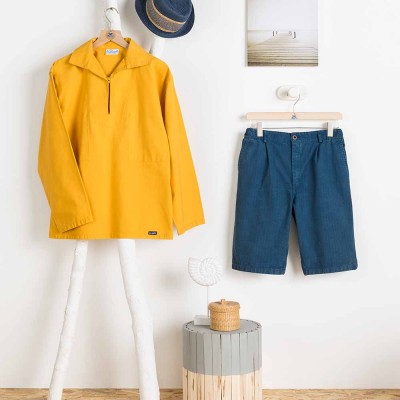 Bermuda shorts Le Glazik Broken twill Indigo Billey