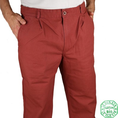 Pornic Le Glazik pantalon toile bio brique