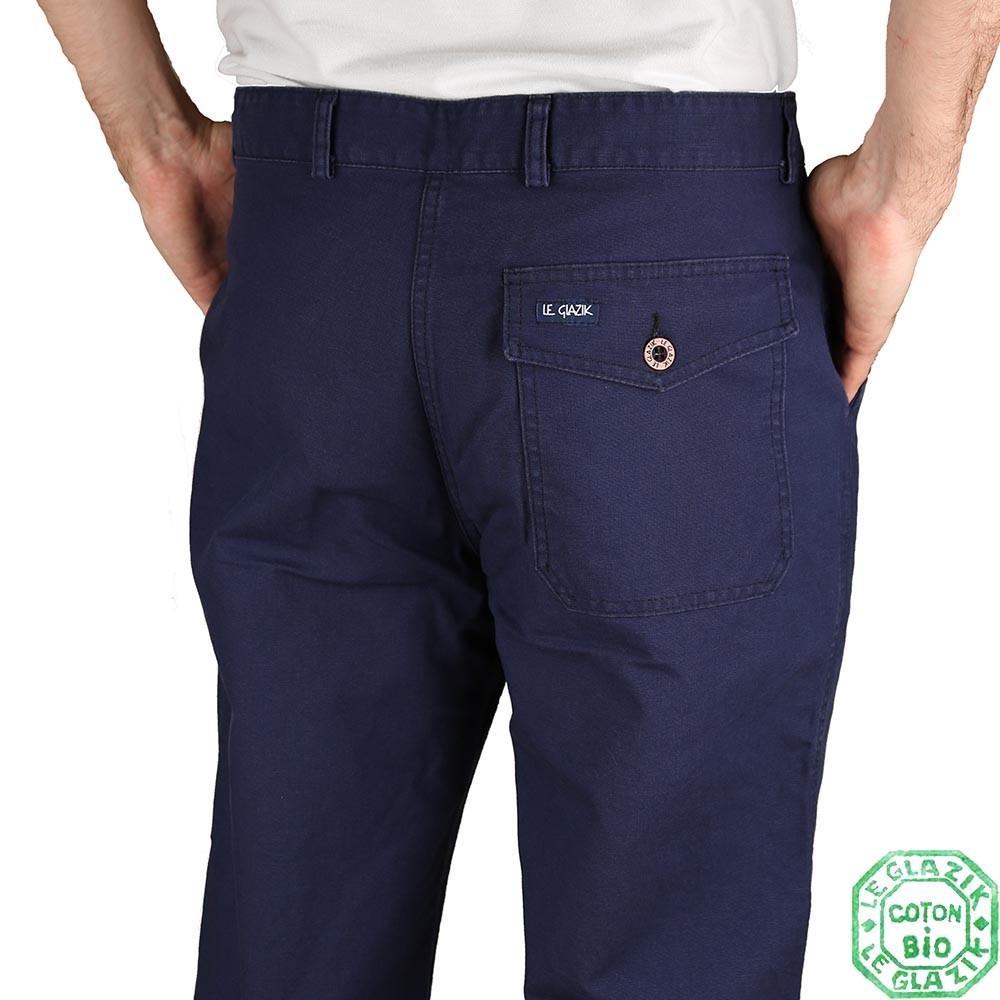 Pornic Pantalon Toile bio Le Glazik Marine arrière