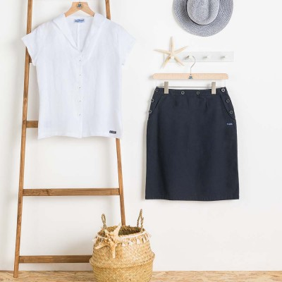 Arz navy deck skirt and women blouse