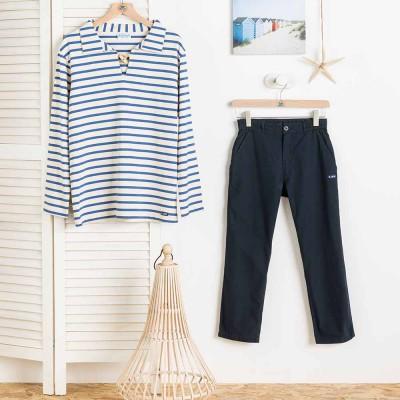 Women Poupon Navy short pants Le Glazik and blouse
