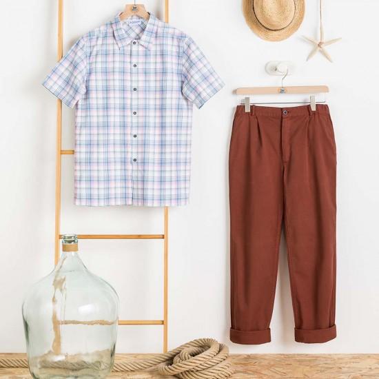 Chemise Capbreton à carreaux blanchi Le Glazik et pantalon