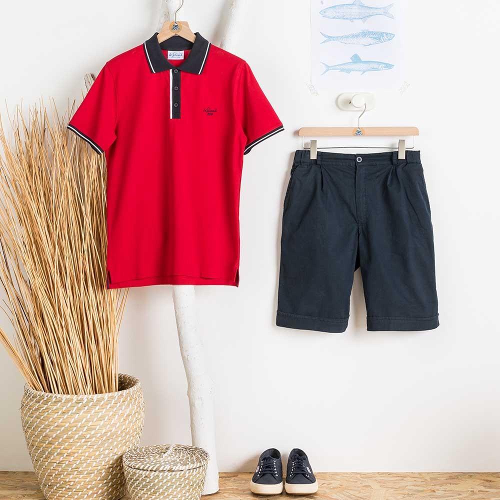 Polo C Rouge Le Glazik et pantalon