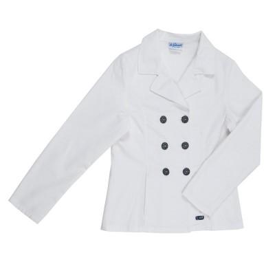 Bergame, Veste à double boutonnage en toile stretch Le Glazik Blanc