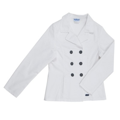 Bergamo, Double-breasted jacket in stretch fabric Le Glazik White