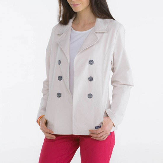 Bergamo, Double-breasted jacket in stretch fabric Le Glazik Nacre