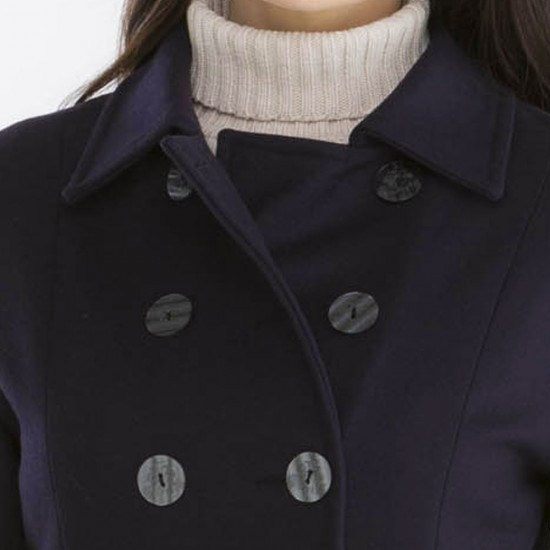 Bellonne, Three-quarter coat with double buttoning Prune