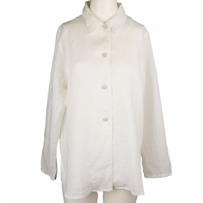 Malia, Linen blouse 4 buttons and collar white