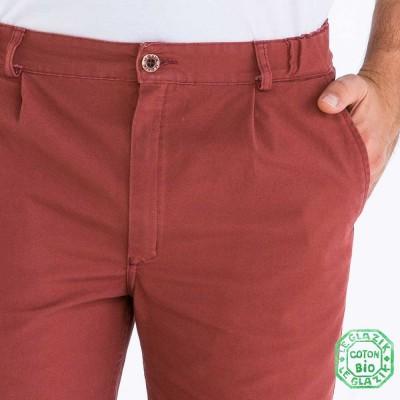 Richard, Pantalon en toile coton bio brique