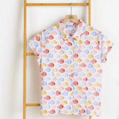 Madrague, Coloured-fishes Blouse in Organic Cotton