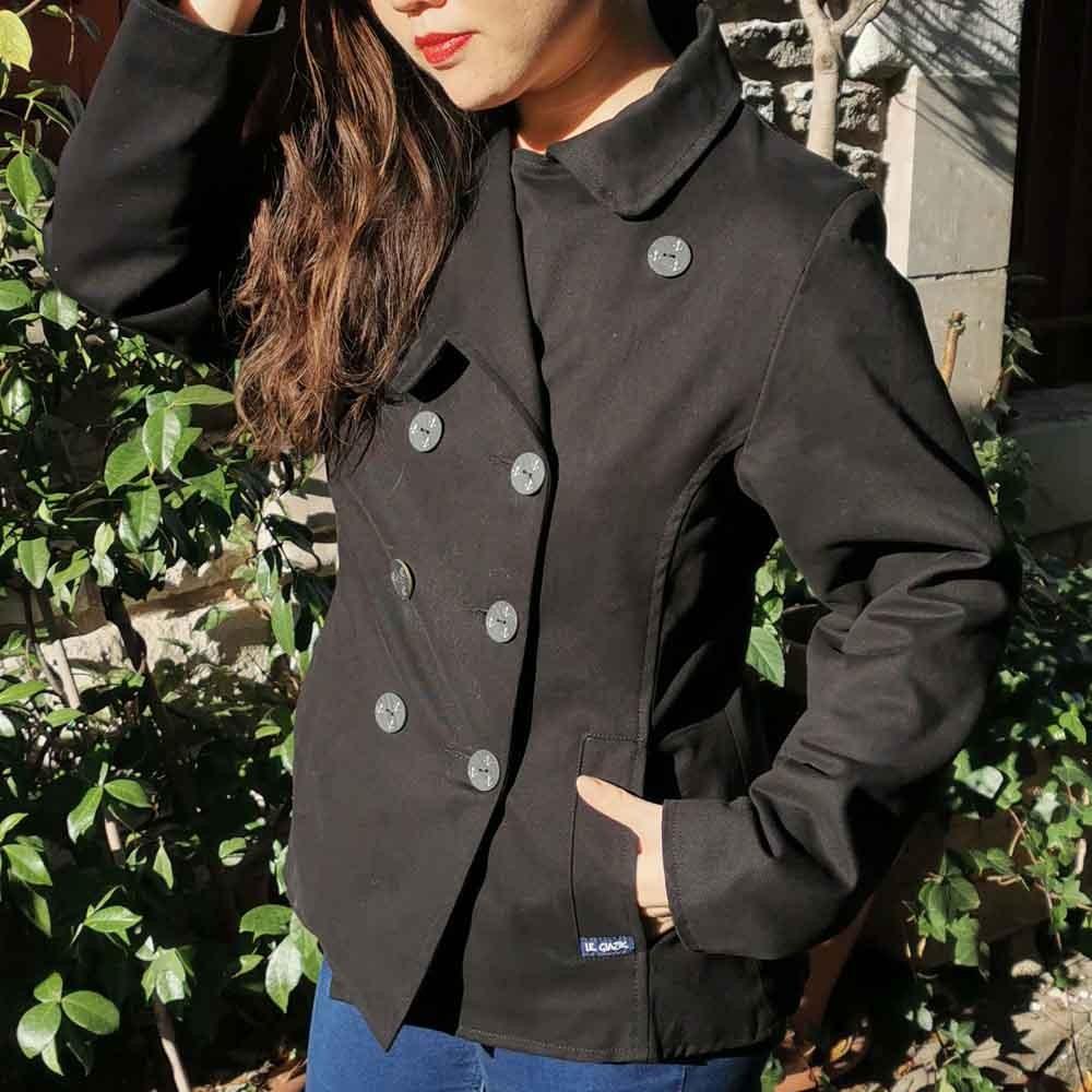 Biarritz, Stretch gabardine pea coat jacket woman