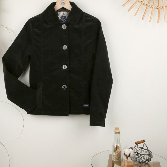 Faustine, Lined jacket in fine corduroy velvet