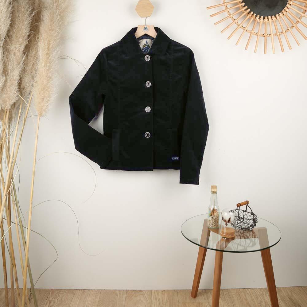 Faustine, Lined jacket in fine corduroy velvet women Le Glazik