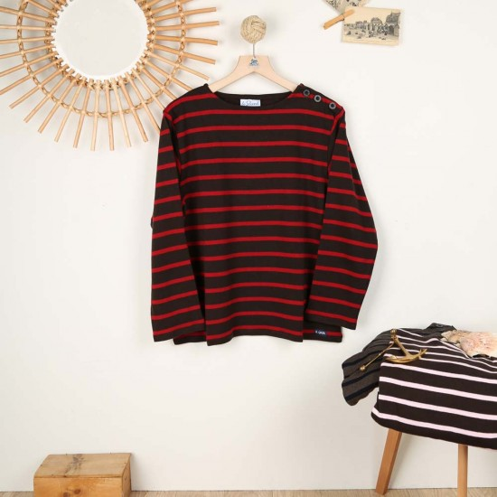 Turballe, brushed cotton boat neck sweater Cacao Kermes